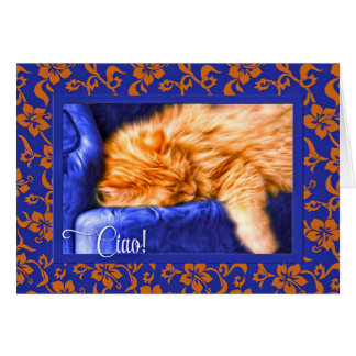 ¡Ciao! De lengua italiana con el azul anaranjado Tarjeta De Felicitación