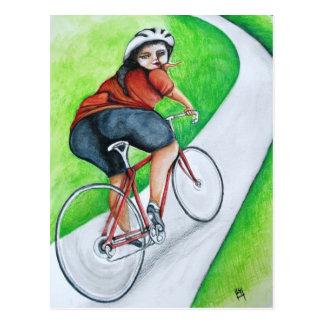 Ciclista - beso adiós postal