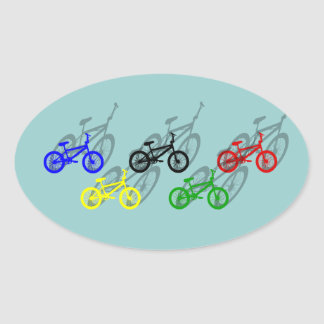 Ciclista de ciclo de la pista de tierra del bicyle pegatinas de ovaladas
