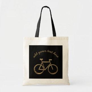 Ciclista de ciclo del oro de la bicicleta negra bolso de tela