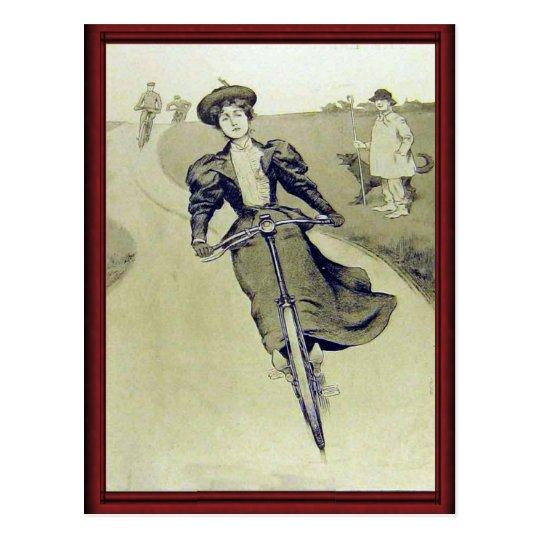 Ciclista de la señora del vintage postal