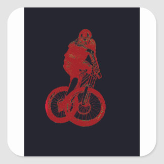 CICLISTA del motorista MTB BMX de la montaña Pegatina Cuadrada