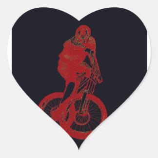 CICLISTA del motorista MTB BMX de la montaña Pegatina En Forma De Corazón