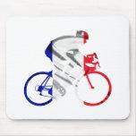Ciclista del Tour de Francia Alfombrillas De Ratones