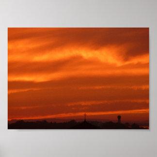Cielo anaranjado sobre Venecia (Venezia), Italia Póster