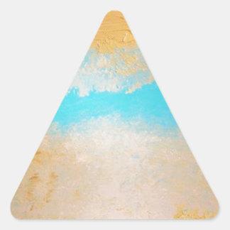 Cielo, arena de mar en lona pegatina triangular