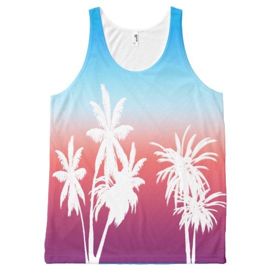 Cielo azul de las palmeras de la puesta del sol camiseta de tirantes con estampado integral