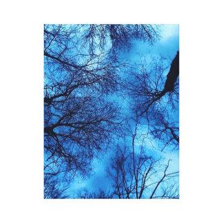 Cielo azul en arte negro de la lona de los árboles