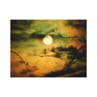 Cielo iluminado por la luna misterioso impresión en lienzo