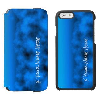 Cielo nocturno azul de neón con nombre negro del funda cartera para iPhone 6 watson