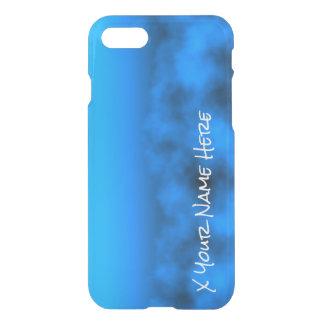 Cielo nocturno azul de neón con nombre negro del funda para iPhone 7
