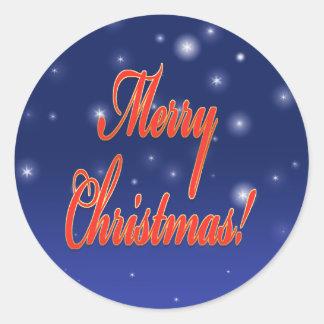 Cielo nocturno redondo de las Felices Navidad del Pegatina Redonda