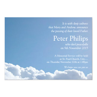 Cielo pacífico 2 + poema - invitación fúnebre invitación 12,7 x 17,8 cm