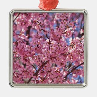 Cielo rosado de la flor de cerezo de Sakura Adorno Navideño Cuadrado De Metal