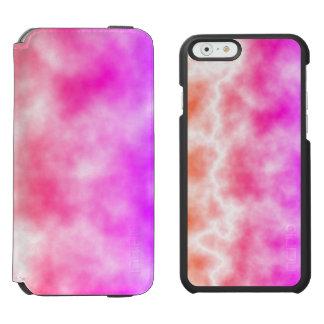 Cielo rosado de la tempestad de truenos funda cartera para iPhone 6 watson