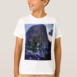 Cielo y pino ponderosa azul marino en la torre de camisetas