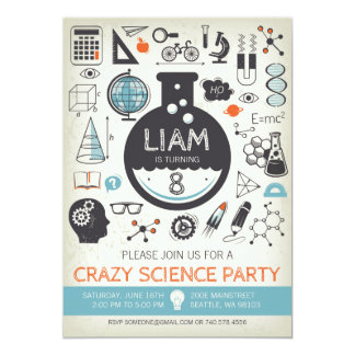 Ciencia Birthday Invitación - Mad Scientist Party