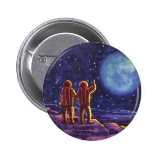 Ciencia ficción del vintage, astronautas de Sci Fi Chapa Redonda 5 Cm