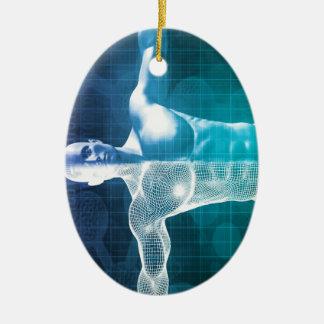 Ciencia médica adorno navideño ovalado de cerámica