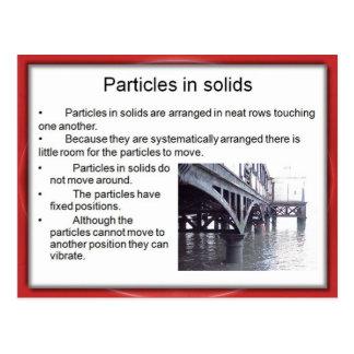 Ciencia, química, partículas en sólidos postales
