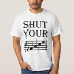 Cierre su humor de la música de la cara camisetas