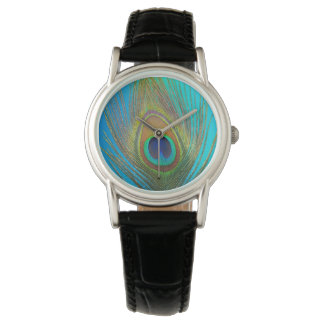 Ciérrese para arriba de pluma del pavo real reloj de pulsera