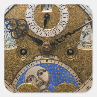 Ciérrese para arriba de un reloj viejo, Alemania Pegatina Cuadrada