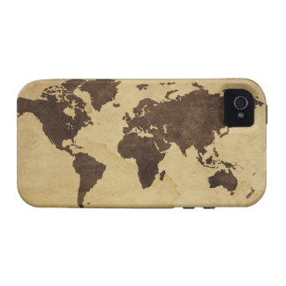 Ciérrese para arriba del mapa del mundo antiguo 3 vibe iPhone 4 fundas