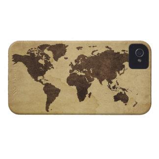 Ciérrese para arriba del mapa del mundo antiguo 3 iPhone 4 Case-Mate funda