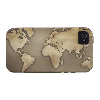 Ciérrese para arriba del mapa del mundo antiguo 4 vibe iPhone 4 fundas