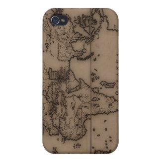Ciérrese para arriba del mapa del mundo antiguo 7 iPhone 4 coberturas