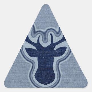 Ciervos azules del resplandor de la lona del dril pegatina triangular