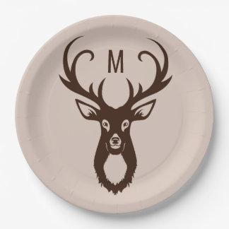 Ciervos con sus placas de papel del monograma plato de papel