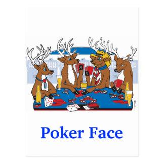 Ciervos de la cara de póker postal