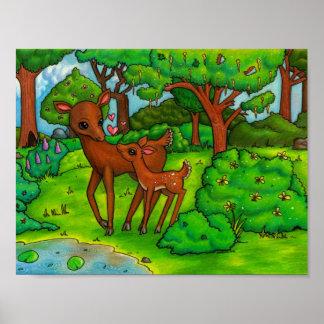 Ciervos de la madre y cervatillo del bebé póster