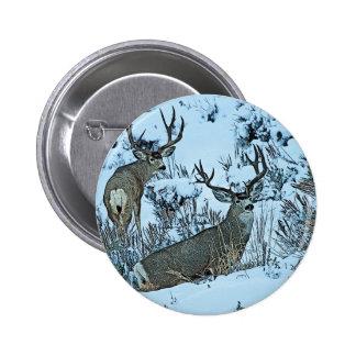 Ciervos del dólar en nieve chapa redonda 5 cm