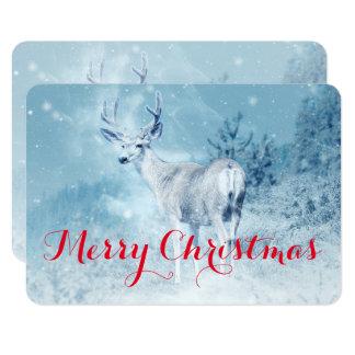 Ciervos del invierno con Felices Navidad de los Invitación 8,9 X 12,7 Cm