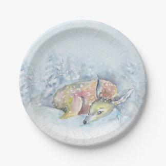 Ciervos del invierno de la acuarela en nieve plato de papel