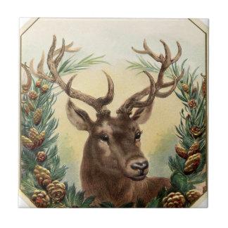 Ciervos del navidad del vintage azulejo cuadrado pequeño