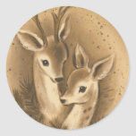 Ciervos del navidad del vintage pegatina redonda