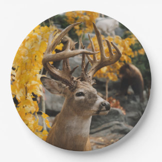 Ciervos del trofeo plato de papel
