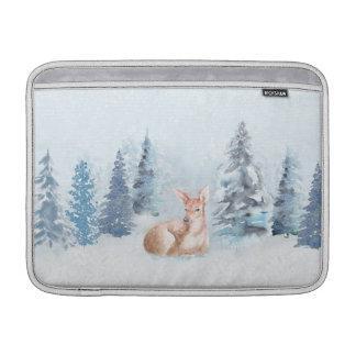 Ciervos elegantes de la acuarela del invierno en funda para MacBook