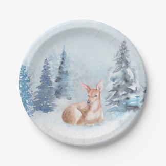 Ciervos elegantes de la acuarela del invierno en plato de papel