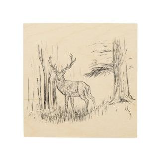 Ciervos en el arte de madera de la pared del