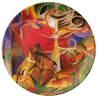 Ciervos en el bosque de Franz Marc Plato De Porcelana