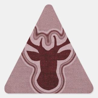 Ciervos que brillan intensamente de la lona roja pegatina triangular