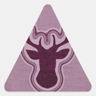 Ciervos que brillan intensamente de la lona rosada pegatina triangular