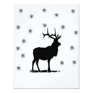 Ciervos y copos de nieve invitación 10,8 x 13,9 cm