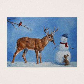 Ciervos y navidad divertido del muñeco de nieve tarjeta de visita