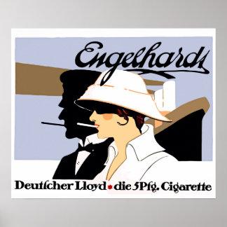 Cigarrillos del estilo del vintage y línea de nave poster